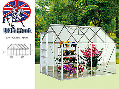 """6"""" x 8"""" Clear Polycarbonate Greenhouse Aluminium With Base Slide Door Silver"""