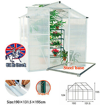 """6"""" x 4"""" Inch Greenhouse Aluminium Polycarbonate With Steel Base Frame Grow House"""