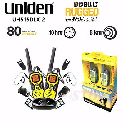 Uniden UH515DLX-2 80 Channel Ultra Compact 1.5W UHF Handheld Radio - Twin Pack