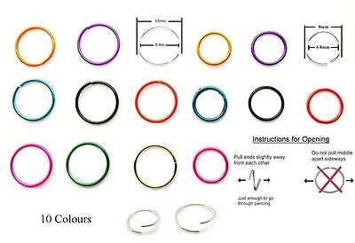 Sterling Silver Nose Ring Seamless Hoop Thin Small Tiny Ear Cartilage Tragus