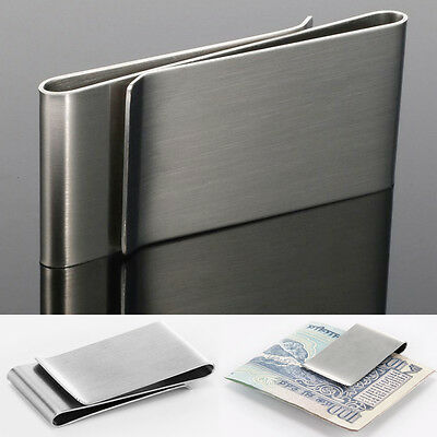 Stainless Steel Double Sided Money Clip Cash Credit Card Holder Mens Pub Wallet