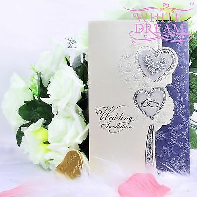 Sample heart embossed wedding evening invitations h2 for Lavender avenue wedding invitations