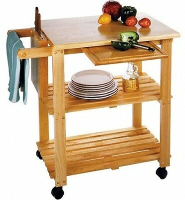 Kitchen Island Table Rolling Utility Cart Storage Portable Cabinet ...
