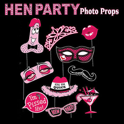 12PCS WEDDING HEN PARTY NIGHT PHOTO BOOTH PROPS HEN DO ACCESSORIES Valentine's