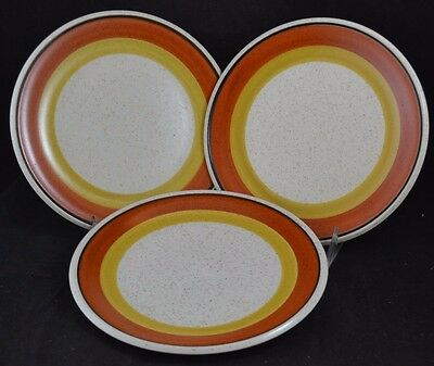 Imperial W. Dalton Stoneware Japan Tangerine P9261 Set of 3 Salad Plates 8 1/4""