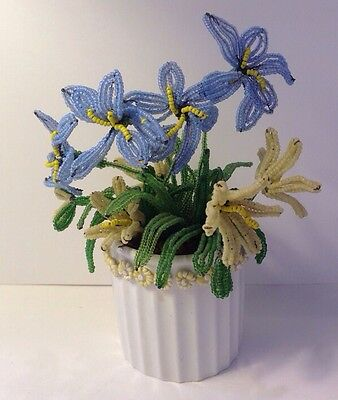 Vintage French Hand Made Beaded Glass Seed Beads Flowers Mini Bouquet In Vase