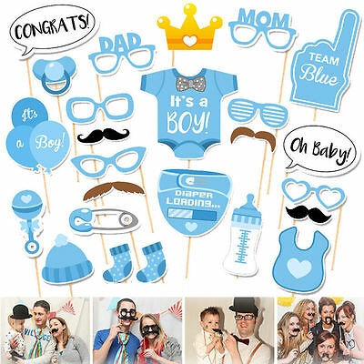 24pcs Baby Shower Photo Booth Props Little Boy Mister New Born Party Decoration