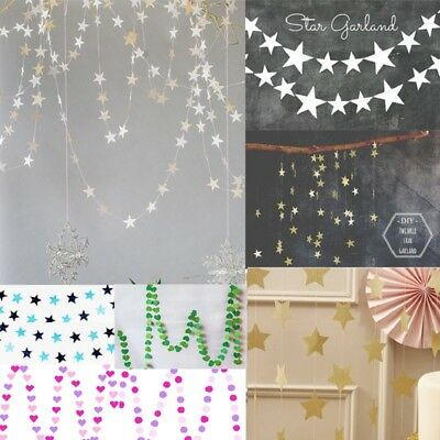4M Star/Circle/Heart Hanging Paper Garland Chain Wedding Party Home Banner Decor