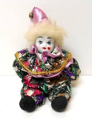 Vintage Hand-Painted Face Porcelain & Cloth CLOWN DOLL Heart Cheek