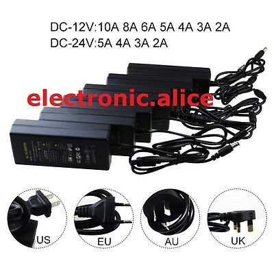 NEW AC100-245V To DC 12V/24V 2A-10A Power Supply Adapter Driver Switch For strip