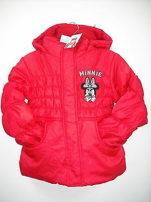Bnwt Girls Disney Minnie Mouse. Red Coat. Hooded Age 2-8 Years