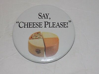 """Vintage 90s Pizza Hut Pin Button Pinback Badge """"Say Cheese Please"""""""