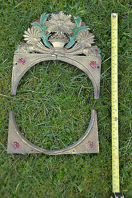 Antique French Belgian Comtoise Morbier Brass Clock Face Surround 8