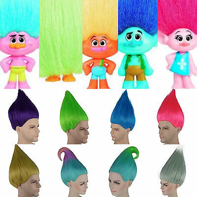 Elf/Pixie/Troll Coloured Wig Movie Style Adult & Kids Sizes Halloween Fancy Dres