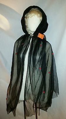 Vampire Witch Riding Hood Adult Ladies Womens Costume Cape Black Halloween