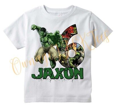 Incredible Hulk Number Custom t-shirt Personalize Birthday gift Add NAME/AGE,