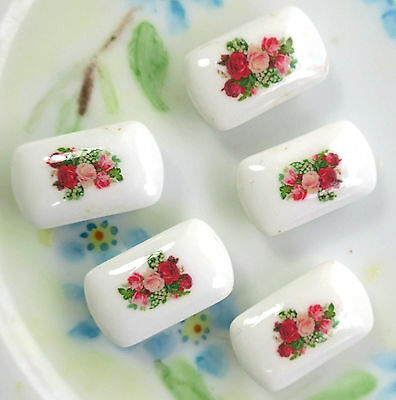 #587S Vintage Beads Milk White 2 hole Rectangle Glass Floral Rose Pink NOS RARE