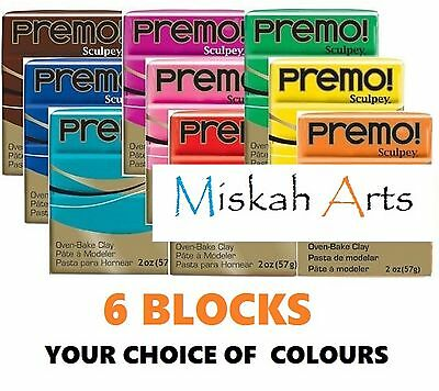 Sculpey PREMO -  Polymer Clay - 57g  - 6 BLOCKS - YOUR CHOICE OF COLOURS!