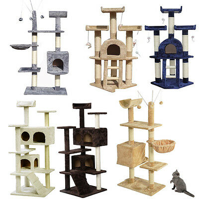 Cat Tree Scratcher Scratching Kitten Climb Post Sisal Toy Activity Scratch UK SY
