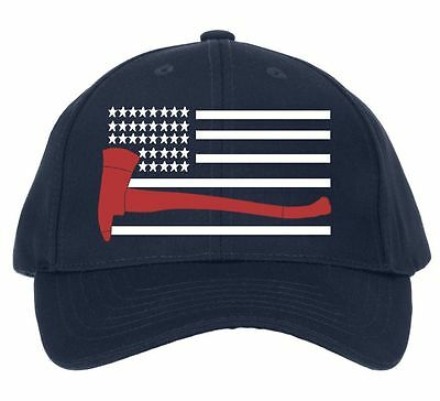 Firefighter Hat - USA Flag with Red Axe embroidered Flext Fit Hat - SIZE XL/XXL