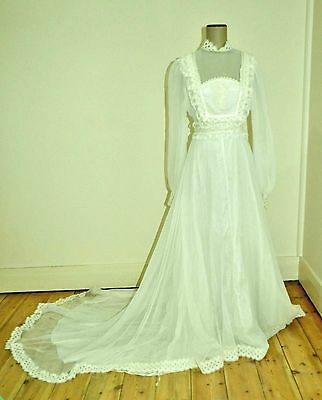 Vintage 70's Sheer Embroidered Lace Wedding Dress