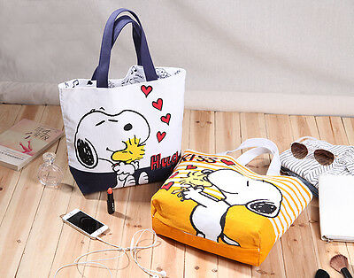 Snoopy Warm Serious Shopping Bag Woodstock Peanuts Stripe Tote Hug Kiss Shoulder