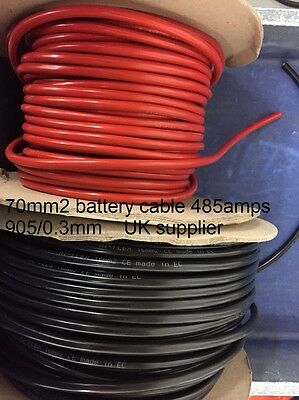 BLACK RED 70mm 485AMP Copper welding flexible battery earth marine starter cable