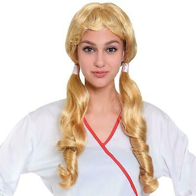 Adult Ladies Long Blonde Pigtail Bunches Wig Fancy Dress Cosplay School Girl New
