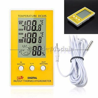 DC105 Digital LCD Indoor Outdoor Humidity Hygrometer Thermometer Meter w Cable