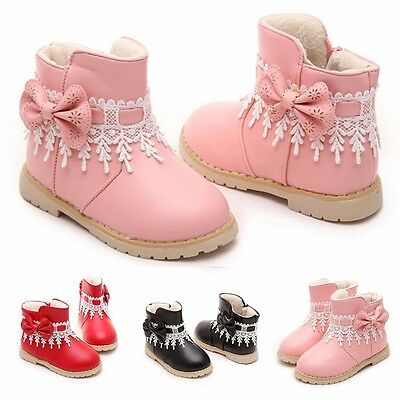 Waterproof Baby Kids Girls Children Lace Snow Ankle Boots Casual Princess Shoes
