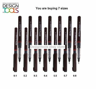 Rotring Tikky Graphic Technical Drawing Pens - set with 7 PENS - 0.1 TO 0.8