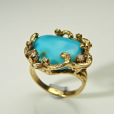 Turquoise Diamond Ring 14K Gold Unique Mid Century Modernist 1970s Brutalist