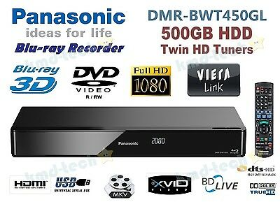 Panasonic 3D Blu-Ray Disc / Dvd Recorder 500Gb Twin Hd Tuner Dmr-Bwt450 Rp$549 A