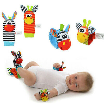 New Sozzy Baby Infant Rattle Foot Socks and Wrist Finder Toys Animals 4 Pcs UK