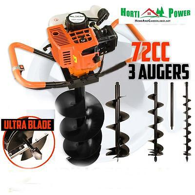 72cc Post Hole Digger Auger Petrol Drill Bit Earth Borer withULTRA SHARP BLADES+