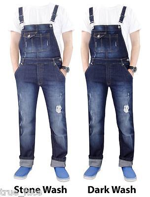 New Men Women Unisex Ripped Stretchable Denim Onesie Slim Fit Dungarees Overalls