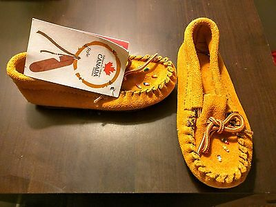 NWT Handmade Native American Children's Suede Leather Moccasins Size 8