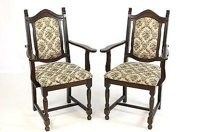 Pair of Vintage Oak Country Open Armchairs Carvers or Dining Occasional Chairs