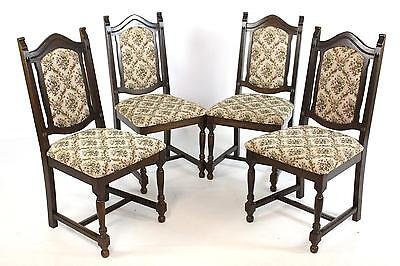 Set of 4 Vintage Oak Country Dining Chairs with Tapestry Upholstery