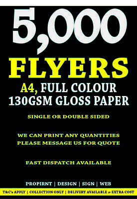 Full Colour printed Flyers, Leaflets, menus, 5000 A5, FULL COLOUR ONLY £59