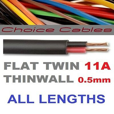 12v/24v AUTOMOTIVE 2 CORE FLAT TWIN THINWALL CABLE 0.5mm, 11A AUTO 2 CORE WIRE