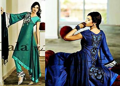 """Sana & Samia """"lala"""" Unstitched Dress / Scarf / Trousers Suit, Green / Blue (016)"""