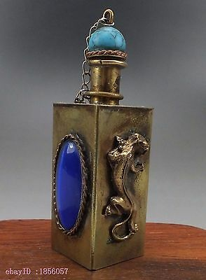 Collection Exquisite Inlaid Sapphire Brass Snuff Bottle