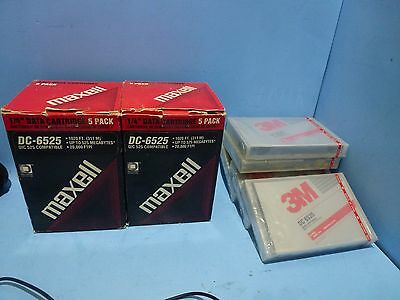 """Lot of 15 Sealed DC-6525 1/4"""" Data Cartridge 10x Maxell - 5x 3M 1020 ft 525 Mb"""