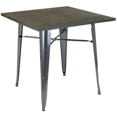 Hartleys Wooden Top Metal Dining Table Industrial Rustic Kitchen/cafe/bistro