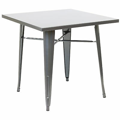 Hartleys Large Gunmetal Square Industrial Metal Table Kitchen/dining/cafe/bistro