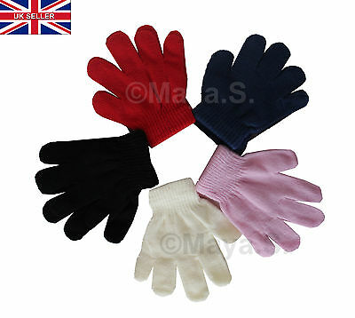 5x Kids Boy Girl  Thermal HAND Gloves 2-4 age Assorted Colours Winter Acrylic-UK