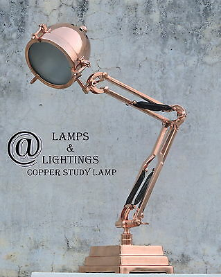 Restoration Hardware Industrial COPPER Table Side Lamp Desk Lighting Home Decor