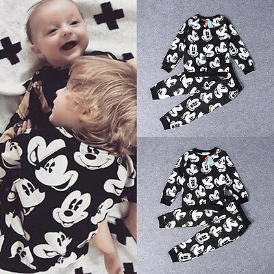 2PCS Mickey Mouse Outfits Baby Boys Kids Tops T-Shirt+Pants Set Casual Clothes