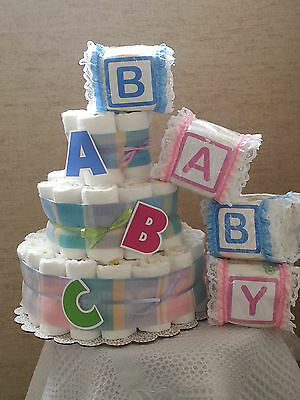 3 Tier Diaper Cake Baby Shower Gift Centerpiece Boy Girl Unisex